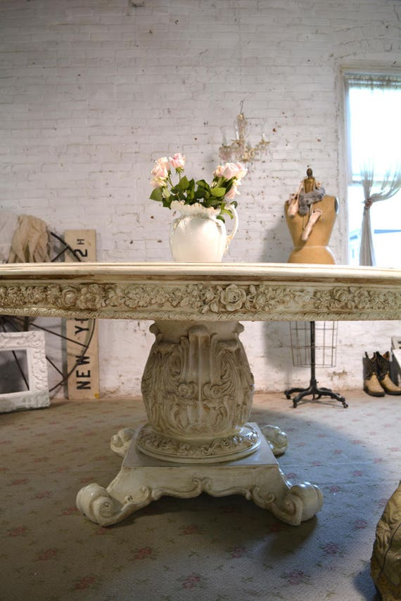 Dining Table Painted Cottage Chic Shabby Tea-Stained French Round Dining  Table TBL232