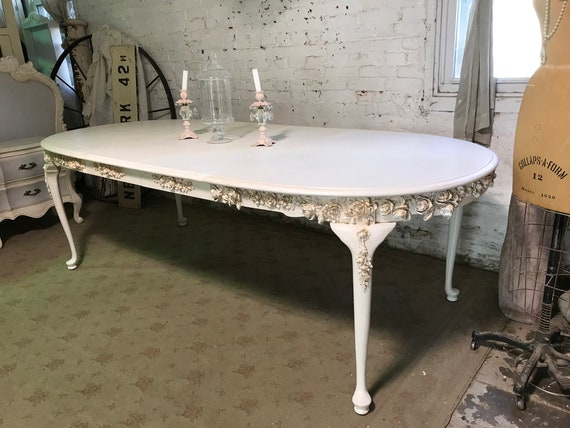 Painted Cottage Chic Shabby French Farmhouse Kitchen Table Dining Table  TBL281