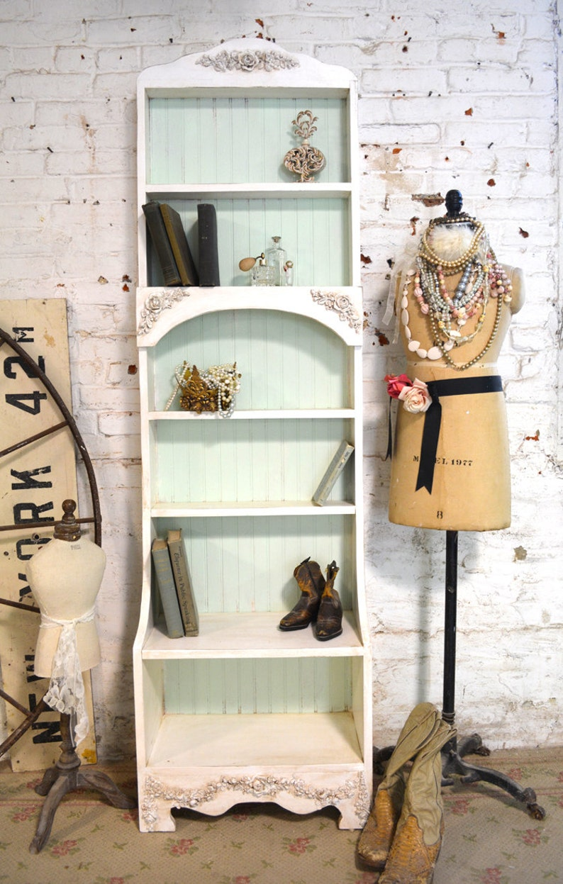 Painted Cottage Chic Shabby White Handmade Bookcase Display Cabinet Bc22
