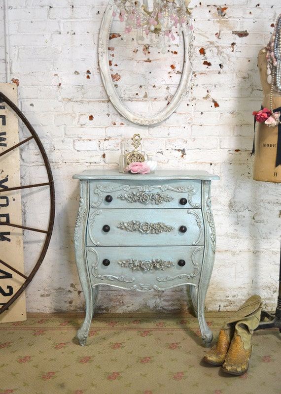 Painted Cottage Chic Shabby Romantic French Night Table NT881