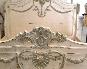 Painted Cottage Shabby  French Linen  Romantic  Bed  KING  BD20D