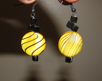 Sunshine Circle Zebra Stripe Earrings