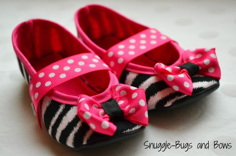 e2254bfd2590 Zebra Baby Shoes Pink Polka Dot Baby Shoes Girl Crib Shoes