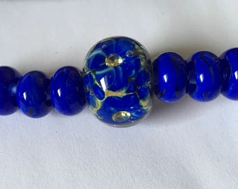 INVENTORY REDUCTION  — 9 Handmade Artisan Lampwork Beads - Huge Focal with CZ Flower Centre and Matching Spacers