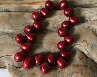 INVENTORY REDUCTION — 22 Lustrous Burgundy Freshwater Pearl Drops