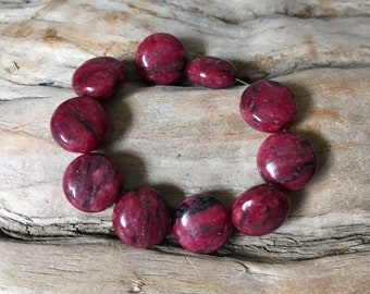 INVENTORY REDUCTION — 10 Genuine Berry Magnesite Coin Beads
