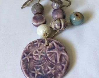 INVENTORY REDUCTION — Handmade Artisan Ceramic Disc Pendant and Bead Set