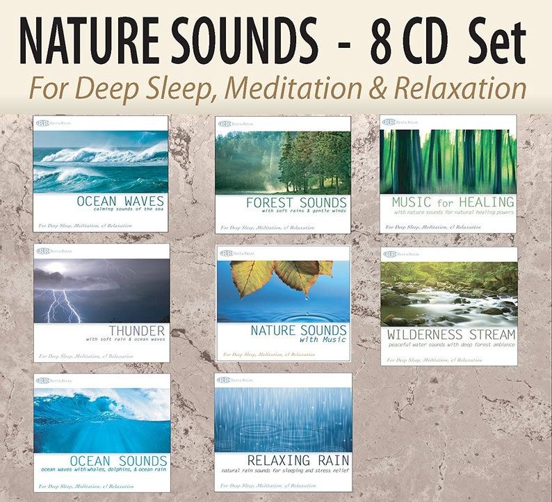 Nature Sound Effects 8 CD Set: Ocean Sounds, Bird Sounds, Sound of Rain,  Thunderstorm, Sleep Sound for Sleeping, Water Stream, Healing CDs