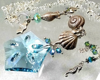 Swarovski Beach Theme Necklace with Hill Tribe Fine Silver Sea Shells and Fish, Sterling Silver Long Statement Necklace, Beach Babe