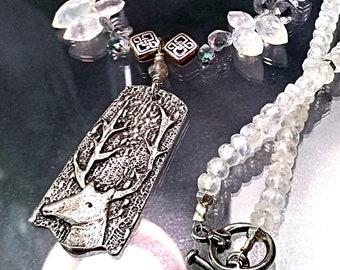 Gemstone Winter Forest Necklace with Mystic Labradorite, Moonstone, Aquamarine, Rock Quartz Crystal and Mystic Topaz