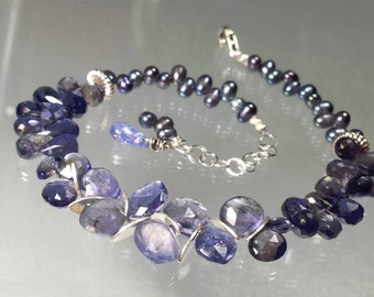 Water Sapphire Gemstone Briolette Bracelet with Peacock Pearl, Blue Iolite Sapphire, Silver Bracelet, Lovely Luxe Jewels