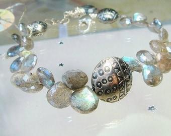 Mystic Labradorite Bracelet, Silver Statement Bracelet, Cocktail Jewelry, Shimmering, Sparkling Mystic Gemstones, Luxury Jewelry, Luxe