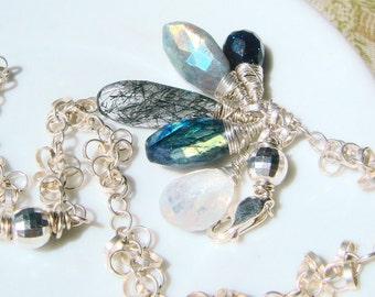 Labradorite Bracelet, Gemstone Charm Bracelet, AAA Gemstones, Mystic Labradorite, Rutilated Tourmalinated Rock Quartz, Spectrolite, Sterling