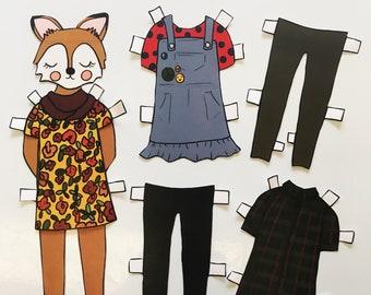Sara Fox Paper Doll - download and print PDF file - Cute fox - Fashion