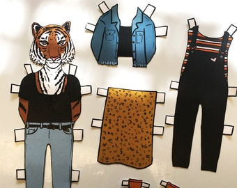 Lauren Tiger Paper Doll - download and print PDF file - Cute tiger- Fashion