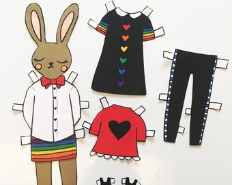 Piper Bunny Paper Doll - download and print PDF file - Cute bunny - Rainbow - Fashion