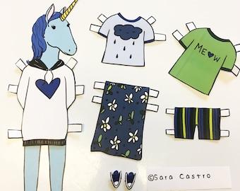 Jenni Unicorn Paper Doll - download and print PDF file - Cute unicorn- Fashion