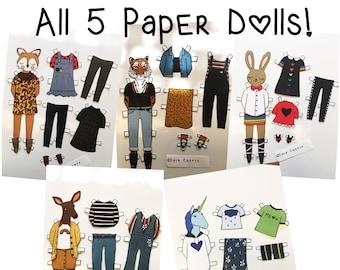 Set of 5 Paper Dolls - download and print PDF file - Fox - Bunny - Unicorn - Deer - Tiger - Fashion