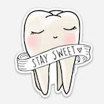 Sweet tooth sticker - cute - sweet - gouache- vinyl sticker - watercolor - dentist - teeth