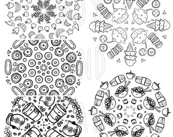 Cute Food - Set of all 5 Digital PDF files - Printable Coloring Pages - Kawaii - adult coloring - all ages