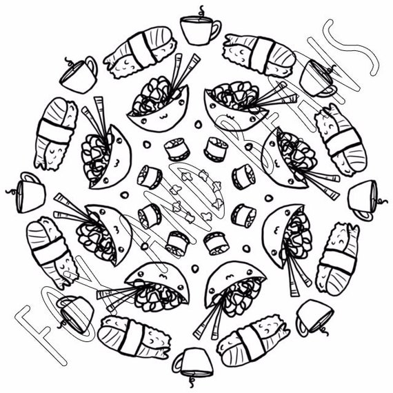 Cute Sushi And Noodles Printable Coloring Page Digital