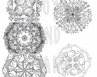 Cute Animals - Set of all 5 Animal Digital PDF files - Printable Coloring Pages - Kawaii - adult coloring - all ages
