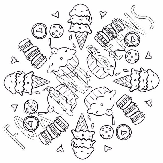Cute Sweets Printable Coloring Page Ice Cream Cupcakes Digital File Macarons Cute Kawaii Adult Coloring All Ages