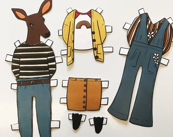 Caroline Deer Paper Doll - download and print PDF file - Cute deer - Fashion