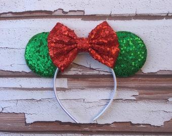 christmas disney ears adult mouse ears red white and green mouse ears disney christmas ears disney holiday ears christmas party - Disney Christmas Ears