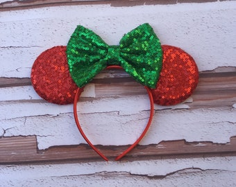 christmas disney ears adult mouse ears red and green mouse ears disney christmas ears disney holiday ears christmas party