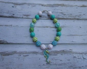 Seahorse Chunky Necklace, Summer Beach Necklace, Bubble Gum Necklace, Girls  chunky necklace, Toddler bead necklace, beach necklace