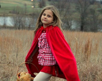 New hooded princess snow white Little Red riding hood Inspired Costume  soft cape girl toddler 3-6 years dress up