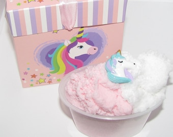unicorn glitter strawberies and cream cloud slime charm included scented with party birthday box gift + FREE extra