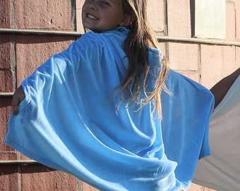 New hooded princess fairy Costume soft cape girl toddler 3-8  years dress up light blue super hero