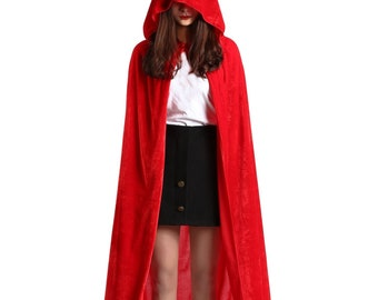 Long Little Red ridding hood Medieval cape Velvet hooded Fairy Fantasy Princess Wizard witch renaissance costume adult unisex black red