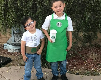 Starbucks barista Halloween costume inspired apron child T shirt belt family costumes