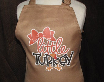 SALE! ships today child Thanksgiving apron tea party Birthday 2-7 yrs girl gift pretend cook chef little Turquey