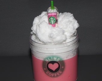 Strawberry cream starbucks frappuccino inspired slime with charm cloud slime on top