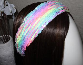 sequins rainbow pastels sequins headband hair accessory hair piece