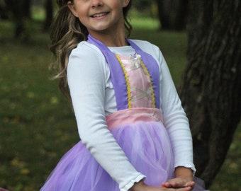 Rapunzel inspired apron tutu dress tea party Birthday 3-8 yrs girl Christmas gift pretend princess