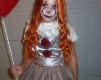 Tutu Halloween costume IT Penny wise clown inspired apron tutu dress teen women child girl