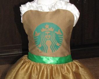 Tutu Halloween costume mocha coffee starbucks inspired apron tutu dress teen women child girl