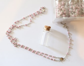 10 personalized pink rosary in a bottle  party favors with initial letter on bags baby shower baptism Memorial First Communion Wedding girl