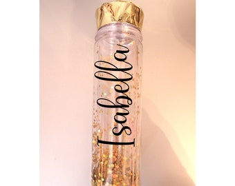 personalized glitter water bottle cup Birthday gift Girl accessories cute tween teen friend girl bridesmaid Valentines FREE SHIPPING