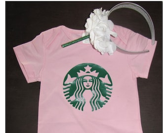 white  2 piece baby girl Halloween costume body suit and headband coffee strawberry starbucks inspired shower 1st birthday 6 12 24 months