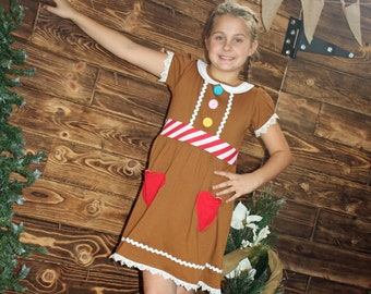 READY to Ship boutique Holiday Christmas girl ginger bread cookie Elf party dress ugly sweater costume toddler outfit child teen 2 - 16 yrs