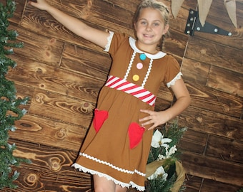 size 10-12 boutique Holiday Christmas girl ginger bread cookie Elf party dress ugly sweater costume school play pageant outfit