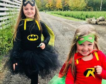 new Girls  girl child toddler Crochet tutu Dress halloween costume super hero  dress with mask and cape  2-16 years