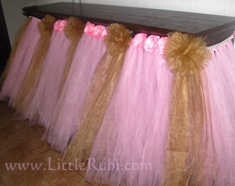 6 ft  banquet party table Tulle Tutu Table Skirt Wedding Baby Shower 1st Birthday unicorn inspired parties bridal quinceañeras + COLORS