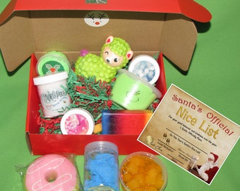 10 piece Slime gifts squishies Mystery box + Nice list post card certificate from Santa 4 slimes + 3 squishies+ 3 surprise stocking stuffers